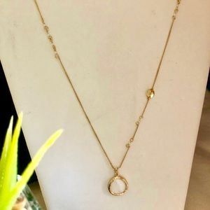Jewelry - Long Necklace With Accented Chain & Ivory Pendant